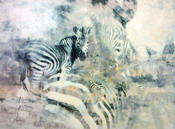 Zebra 1988 34x42 Huge Original Painting - Kobus Moller