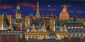Rooftops of Paris At Night 2005  on Panel Limited Edition Print by Liudimila Kondakova