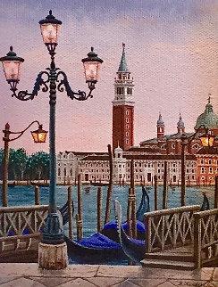 Venice At Dusk 2006 15x13 Original Painting - Liudimila Kondakova