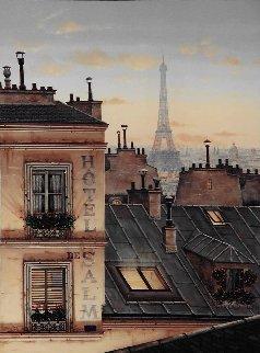 Eiffel Tower At Dusk 2000 30x24 Original Painting by Liudimila Kondakova