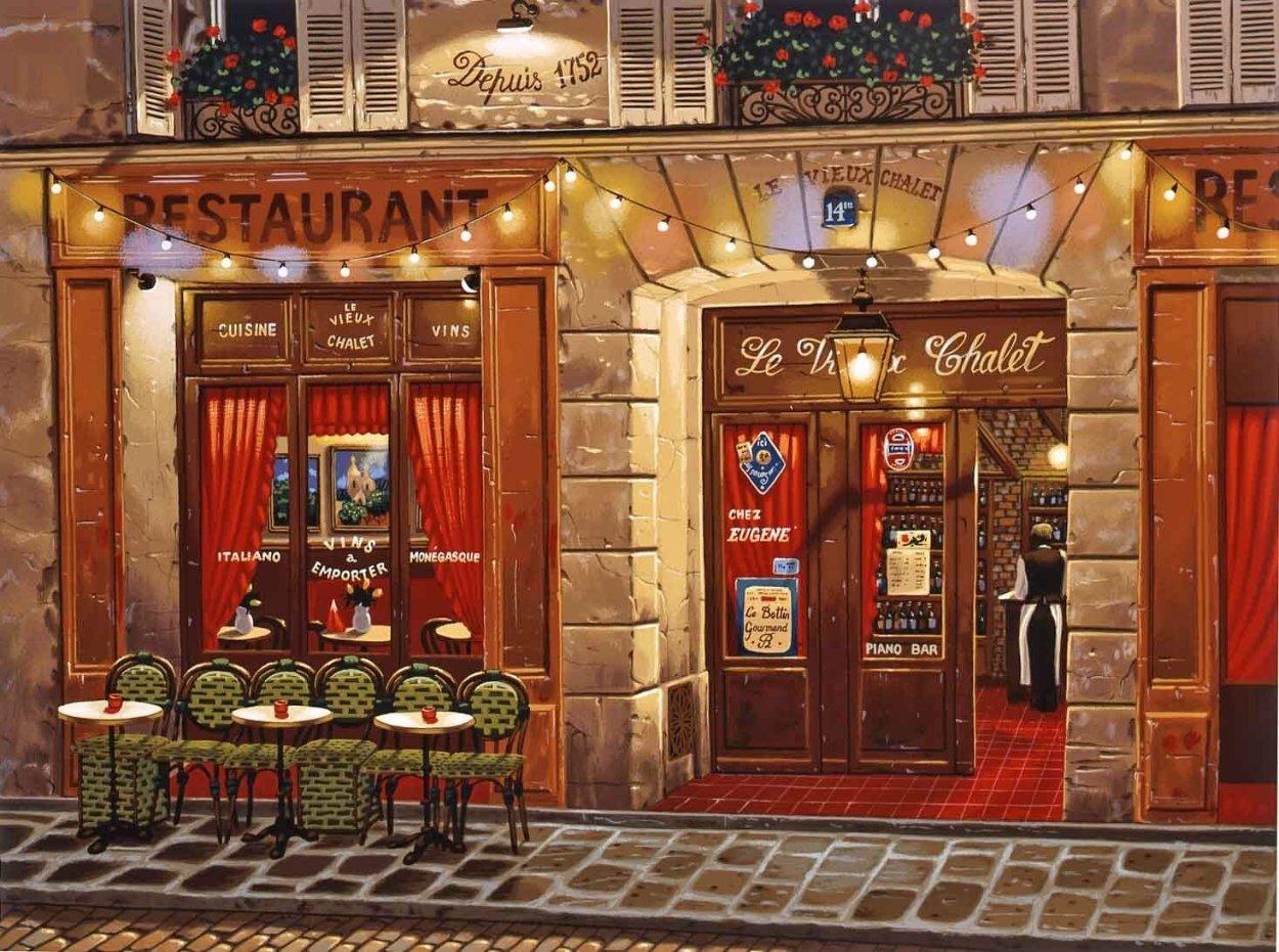 Le Vieux Chalet: Sidewalks of Paris 2004 Limited Edition Print by Liudimila Kondakova