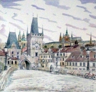 Prague, Charles Bridge Watercolor 26x26 Watercolor by Liudimila Kondakova