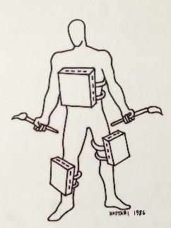 Heroic Angst Drawing 1986 11x14 Drawing by Mark Kostabi