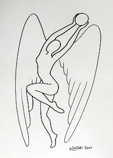 Pearl of Wisdom Drawing 2000 18x13 Drawing by Mark Kostabi
