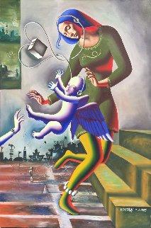 Reaching (Madonna) 1983 72x50 Original Painting by Mark Kostabi