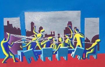 Multiple Lasso 1983 32x45 Original Painting by Mark Kostabi