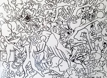 Full Disclosure Drawing 2014 45x35 Drawing - Mark Kostabi