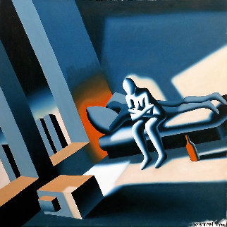 Serene Deja Vu 1988 36x36 Original Painting by Mark Kostabi