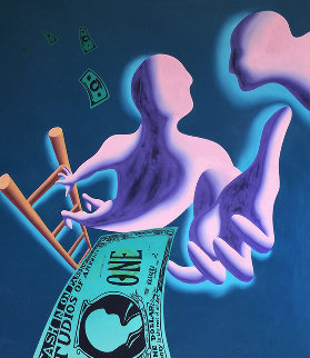 And Then What 1988 64x64  Huge Original Painting - Mark Kostabi
