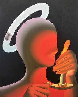 Cool Halo / Hot Candle 1992 30x23 Original Painting by Mark Kostabi