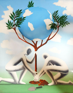 Give Leaves a Chance 1990 40x30 Limited Edition Print - Mark Kostabi