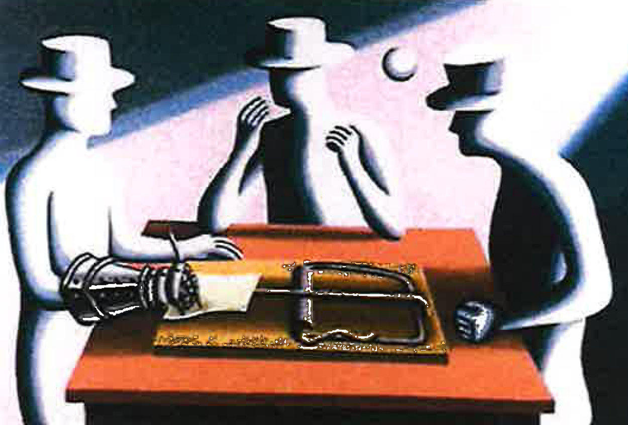 Art of the Deal  Iron Fist 1993 38x26    Limited Edition Print by Mark Kostabi