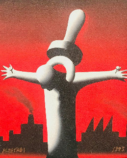 Great Pacifier Industrialization, Industrial Town 1994 14x12 Original Painting by Mark Kostabi