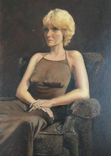 Untitled (Portrait of a Woman) 1979 40x28 Huge Original Painting - Mark Kostabi
