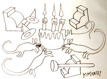 Vermin At a Birthday Party 1986 26x34 Drawing by Mark Kostabi