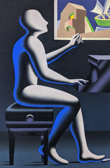 Architecture of Sound 2005 24x16 Original Painting by Mark Kostabi