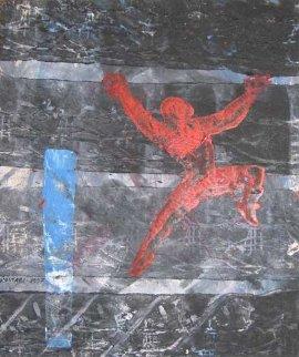 Armour Clad 1997 39x34 Original Painting by Mark Kostabi