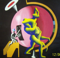 All The Worlds as Hostage 1986 84x84 Super Super Huge Original Painting by Mark Kostabi - 0