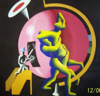 All The Worlds as Hostage 1986 84x84  Huge Original Painting - Mark Kostabi