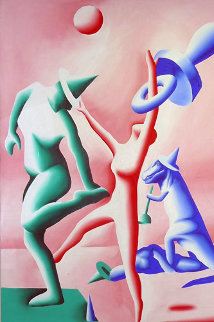 Ring Master (Circus) 1985 70x48 Super Huge Original Painting - Mark Kostabi