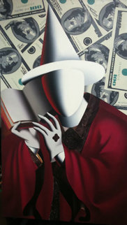Something Up My Sleeve 2008 59x33 Super Huge Original Painting - Mark Kostabi