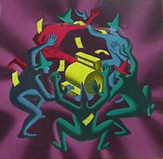 Cash Dance 1990 Limited Edition Print by Mark Kostabi