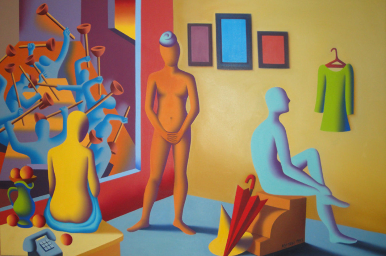 Three Graces 40x60 Super Huge Original Painting by Mark Kostabi