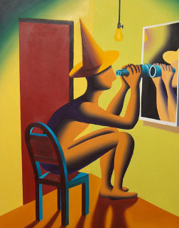 Close Up 1991 44x44 Huge Original Painting - Mark Kostabi
