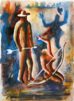 Ammunition Watercolor 1984 33x27 Original Painting by Mark Kostabi