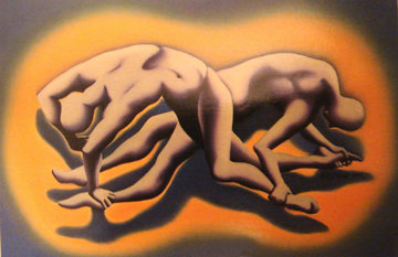 Muscle Bound 1992 16x24 Original Painting - Mark Kostabi