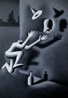 Headstart: Man Chasing His Head 1983 72x48 Super Huge  Original Painting - Mark Kostabi