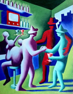 Entrepeneur 1984 48x36 Super Huge Original Painting - Mark Kostabi
