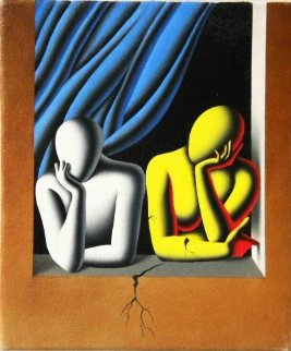 Fractured 2009 11x9 Original Painting - Mark Kostabi