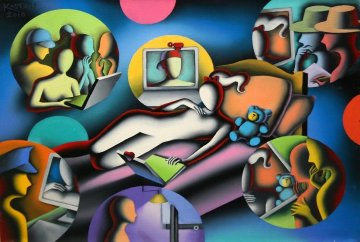 Neighborhood Watch 2010 17x23 Original Painting - Mark Kostabi