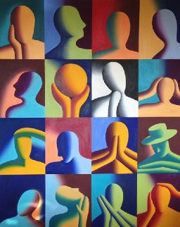 Twelve Apostles 1992 84x69 Mural Original Painting - Mark Kostabi