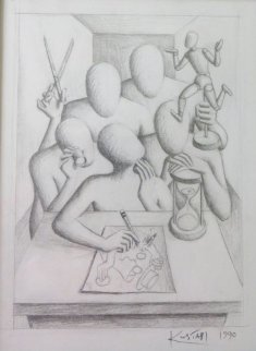 Committee Rules Drawing 1990 17x15 Drawing - Mark Kostabi