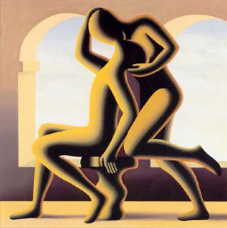 Golden Kiss AP Limited Edition Print by Mark Kostabi