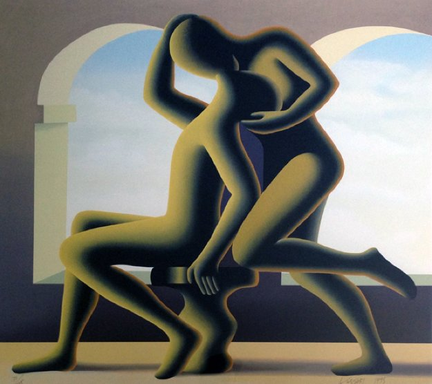 Golden Kiss 1995 Limited Edition Print by Mark Kostabi