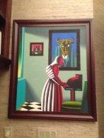 Untitled, Wall Street Bull and Bear 1996 35x29 Original Painting by Mark Kostabi - 2