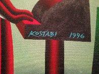 Untitled, Wall Street Bull and Bear 1996 35x29 Original Painting by Mark Kostabi - 1
