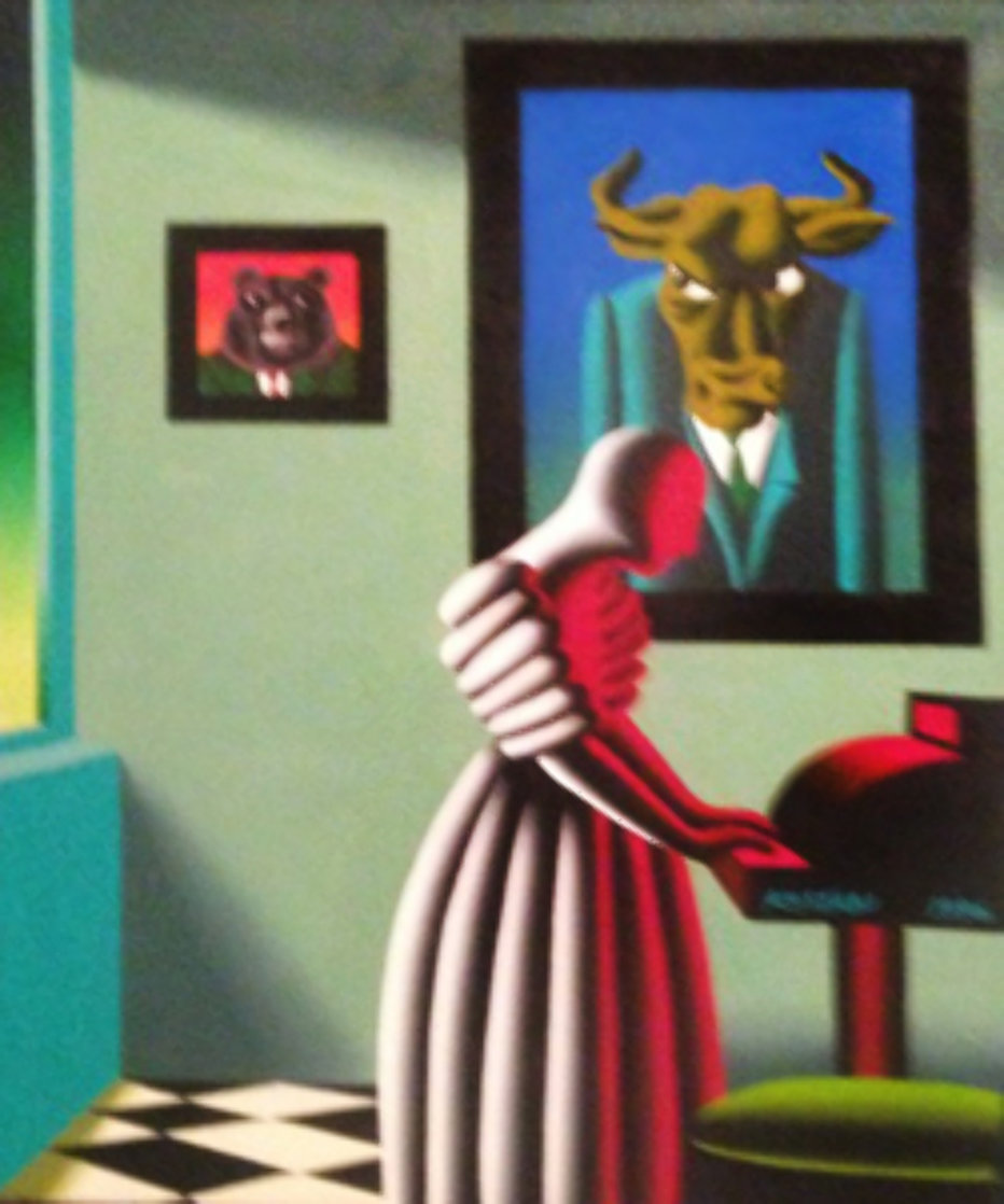 Untitled, Wall Street Bull and Bear 1996 35x29 Original Painting by Mark Kostabi