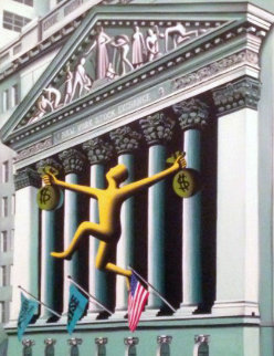 Untitled 1996 New York 35x29 Original Painting - Mark Kostabi