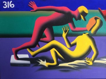 Caught Stealing 1994 25x31 Original Painting - Mark Kostabi