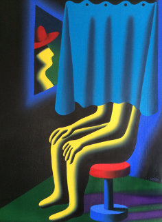 Self Portrait 1994 31x25 Original Painting - Mark Kostabi