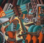 Back to the Futurist 1991 68x70 Original Painting - Mark Kostabi