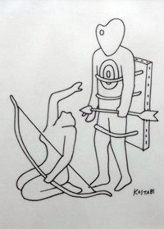 Smorgasbord of Pigment Drawing 1984 11x8 Drawing - Mark Kostabi