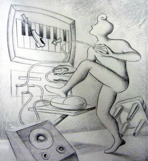 Dance.com Drawing 1998 19x17 Drawing by Mark Kostabi