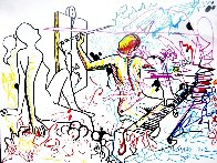 Out of Line Drawing 2012 37x47 Huge Drawing by Mark Kostabi - 1