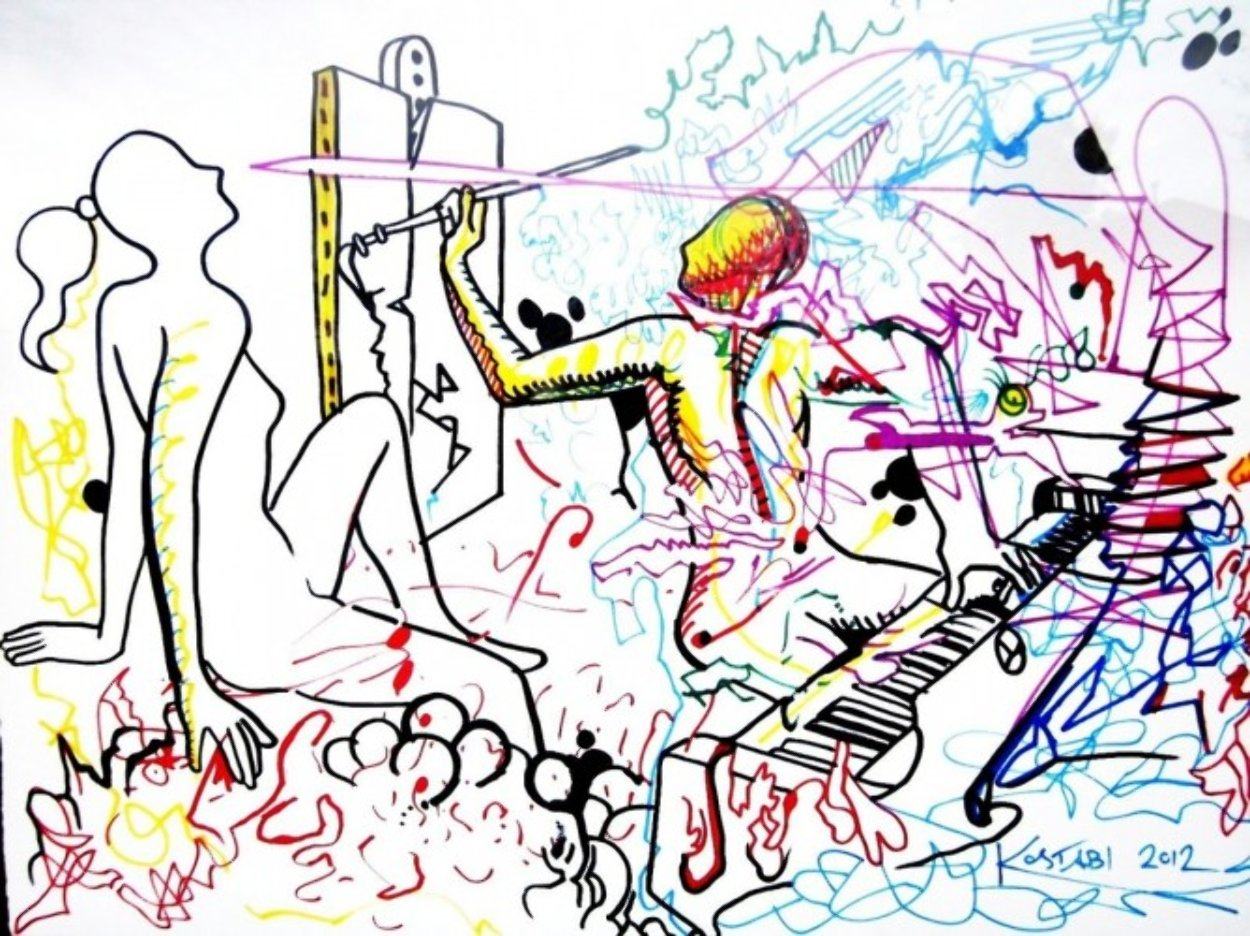 Out of Line Drawing 2012 37x47 Huge Drawing by Mark Kostabi