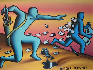 Overnight Mail 1992 20x24 Original Painting - Mark Kostabi